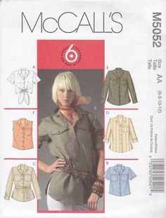 McCall's Sewing Pattern 5052 Misses Size 6-12 Easy Classic Button Front Shirt With Sleeve Variations