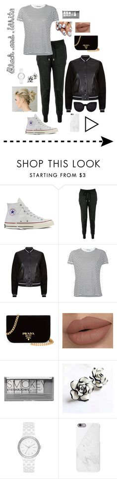 """""""Back in Black (and white)"""" by paigekayleeblog ❤ liked on Polyvore featuring Converse, Markus Lupfer, rag & bone, T By Alexander Wang, Prada, Boohoo, DKNY, Native Union, Delalle and blackandwhite"""