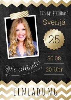 Einladung In Trendy Design Mit Foto In Schwarz Gold Look Zum 25. Geburtstag