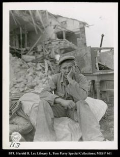 French boy during WW2 after his home was destroyed and his family killed by a buzz bomb. Photo by J Malan Heslop: WW2 photographer...