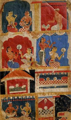 "An illustration from ""Laur Chanda Romance"", Gouache on paper, Central India, c 1550 A. At the Government Museum and Art Gallery, Chandigarh. Is this evidence towards tassel belts? Modern India, India Painting, Persian Culture, Miniature Paintings, India Art, Book Stands, 16th Century, Asian Art, Art Gallery"