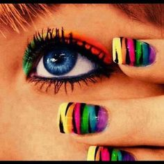 Zebra Rainbow Nails