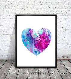 Heart Watercolor painting art Print, Children's Wall Art, Home Decor, Heart art, watercolor painting, Heart poster, Heart Illustration by WatercolorBook on Etsy