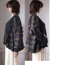 Reconstructed Tunic Cardigan Sweater Charcoal Gray Pattern One Size Sweetbearies HOLIDAY 15% SALE