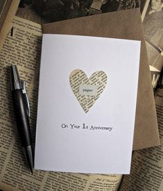1st Anniversary Keepsake Card Husband Wife. PAPER heart cut from Vintage Book pages. On Your First Anniversary With Love. One Year Gift on Etsy, $6.85