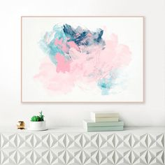 Abstract Art, Downloadable Painting, Pale Pink and Blue Print, Large wall Art, Pink and Navy Blue, Original Art
