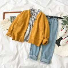 Miruku - Long-Sleeve Striped T-Shirt / Cardigan / Straight-Cut Jeans / Belt Teen Fashion Outfits, Retro Outfits, Cute Casual Outfits, Vintage Outfits, Girl Outfits, 50 Fashion, Fashion Styles, Mode Indie, Straight Cut Pants
