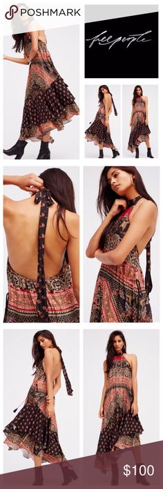 "🆕Free People Painted Flowers Midi Dress.  NWOT. 🆕Free People Painted Flowers Paisley Halter Midi Dress, 100% polyester, machine washable, 28"" all around armpit to armpit which stretches up to 34"", 39"" drawstring waist to maximum, 39"" shortest point length, 49"" longest point length, silky printed midi dress featuring an asymmetrical hem, a halter neck, and a low back, elastic band in back, and adjustable drawstring tie at the waist for an easy fit, lined, measurements are approx.  New…"