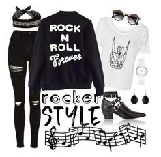 """Rocker Chic"" by nadyahts ❤ liked on Polyvore featuring Fallon, Topshop, High Heels Suicide, Ippolita, Yves Saint Laurent, H&M, DKNY, rockerchic and rockerstyle"