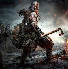 Shamanism in Seidr, Warrior Magic and Religion Dark Fantasy Art, Fantasy Artwork, Viking Berserker, Art Viking, Viking Symbols, Warrior Concept Art, Fantasy Warrior, Norse Pagan, Norse Mythology