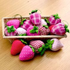 Lovely strawberry red and pink pin cushions