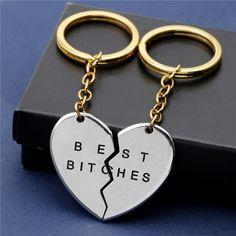 """""""Best Bitches"""" Heart 2Pc Keychain"""
