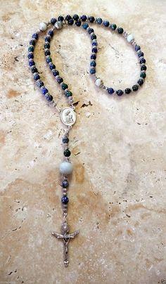 Natural Azurite Chrysocolla Amazonite San Damiano Antique Silver Rosary