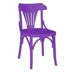 Cadeira Olívia Fabricada em Madeira Maciça Pinus na Cor Roxa com Acabamento em Laca Fosca $398