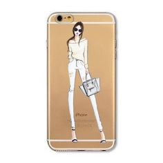 Phone Case Cover For iPhone 4s 5s SE 6 6s 6plus Soft Silicon Transparent Painted Dress Shopping Girl Skin Shell Capa Celular