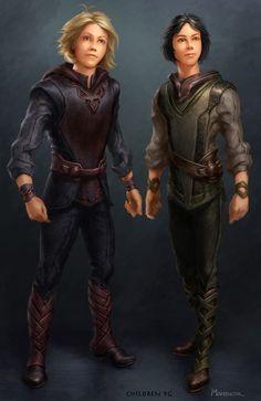 Concept art, Thor & Loki as children.