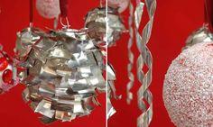 Bolas y cintas de estaño para decorar el árbol de Navidad