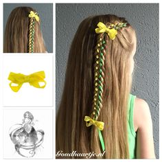 Half up seven strand ribbon braid with two cute little yellow bows from Goudhaartje.nl  #7strandbraid #sevenstrandbraid #7strandribbonbraid #sevenstrandribbonbraid #ribbonbraid #ribbon #hair #bow #hairbow #hairstyle #hairaccessories #halfup #halfupdo #vlecht #lintvlecht #haar #haarlint #haarstijl #strik #haarstrik #haaraccessoires #goudhaartje