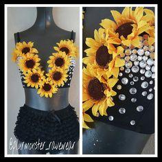 sunflower decorated plunge bra rave plunge bra by plurmonster