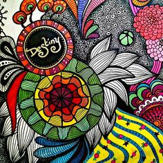 Destiny zentangle drawing created by me #zentangle #psychedelic #drawing #art #design #freehand #colors #abstract | Flickr - Photo Sharing!