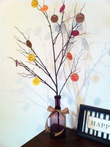 """Make a """"thankful tree"""" for the month of November with your roommates or family! Write something you're thankful for on a different leaf each day of the month and watch the tree get fuller!"""
