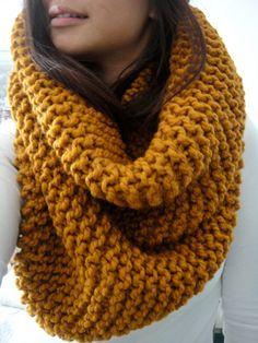 Oversized Chunky Rib by LuluLuvs, scarf amber mustard scarf knit handmade bulky scarf