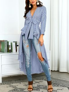 A stripe wonderland⁠ ⁠ Shop link in bio or search www. Col Mandarin, Assymetrical Dress, Blouse Outfit, Outfit Jeans, Elegant Woman, Pattern Fashion, Sleeve Styles, Blouses For Women, Cool Style