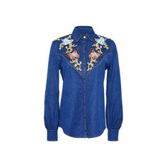 Zuhair Murad Denim Long Sleeve Shirt ($2,255) ❤ liked on Polyvore featuring tops, embroidered tops, butterfly shirt, long-sleeve shirt, long sleeve denim shirt and butterfly top