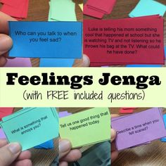 feelings jenga therapy activities for kids Feelings Jenga: Helping Express Emotions - Unseen Footprints Group Therapy Activities, Social Skills Activities, Therapy Games, Counseling Activities, Group Counseling, Speech Therapy, Therapy Ideas, Elementary Counseling, Group Games