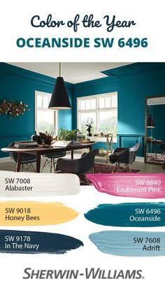 Looking for an eye-catching counterpart to our bold and beautiful Color of the Year Oceanside SW Thanks to its endlessly versatile nature, there are a wide range of hues to choose from. Imagine the soft neutral of Alabaster SW 7008 on ceilings Teal Paint Colors, Paint Color Schemes, Paint Colors For Home, House Colors, Peacock Blue Paint, Teal Accent Walls, Accent Wall Colors, Teal Walls, Teal Bedroom Walls