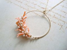 Peach Coral Necklace Coral Branch Necklace by BellaAnelaJewelry