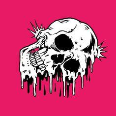 melting inside #skull #illustration #melted #drawing #skeleton #comic #design #sketch #hot #cold