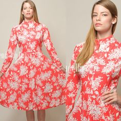 Vintage 70s Chic Bright Coral Red White Floral Aline Dress by TrendyHipBuysVintage