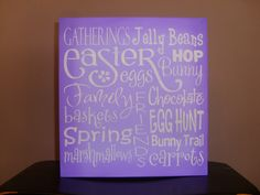 EASTER  Hand Painted  Wood Sign, Typography, Home Decor, Spring, Subway Art, Bunny, Kitchen, Bathroom, Living Room.