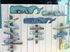 Small joyful whale made of driftwood  - beautiful folk art. $40.00, via Etsy.