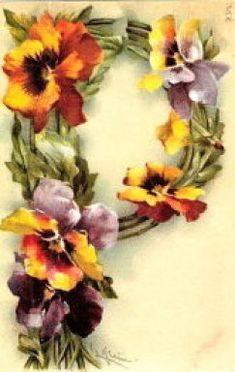 "Catherine Klein ""I"" Alphabet Card - - Yahoo Image Search Results Catherine Klein, Alphabet Cards, Alphabet And Numbers, Alphabet Letters, Art Vintage, Flower Letters, Language Of Flowers, China Painting, Arte Floral"