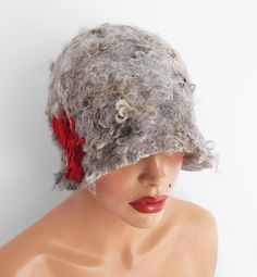 Felted Hat Cloche Hat grey Flapper hat Raw Wool от filcant на Etsy