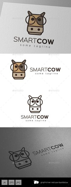 Smart Cow Logo Design Template - Animals Logo Templates Vector EPS, AI Illustrator. Download here: https://graphicriver.net/item/smart-cow-logo-design/9877652?ref=yinkira