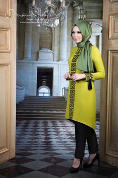 39e2a0984119 Muslima Wear. Tunic lime color with fancy black embroidery the last one.