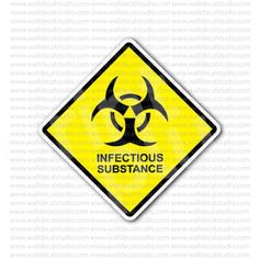 Caution Infectious SubstanceToxic Sign Sticker
