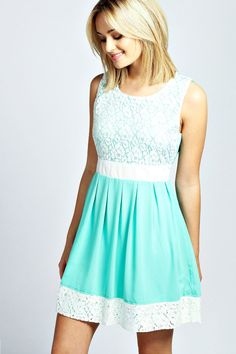 Larna Lace Contrast Panel Skater Dress