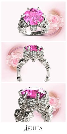 Round Cut Created Pink Sapphire Rhodium Plated Sterling Silver Four-Skull Design Skull Ring #Jeulia