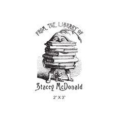 Dwarf Carrying Books Storybook Series Custom Ex Libris Bookplate Rubber Stamp J21. $19.99, via Etsy.