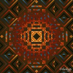 Square Sun 2 - Warm Print by ©ifourdezign Inspired by geometric artist - Andy Gilmore #DigitalArt #Symmetry #AbstractArt #Geometry #Patterns #textiles #FineArtAmerica (Please retain ALL credit -TY)