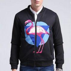 Fashion mens flamingo bomber jacket zip desing black jacket coats