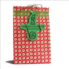 Adventcalendar stamping idea # the bag is cut out with a template, the tag is from cardstock cut out with a cutter # Christmas stamp / Smiling Brownie in December / by MAKIstamps, €4.20 / You can find the stamp here: https://www.etsy.com/listing/165555750/christmas-stamp-smiling-brownie-in?ref=shop_home_active_9
