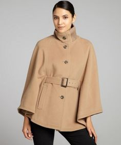 Cole Haan : camel wool-cashmere belted knit collar cape