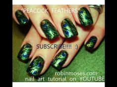 PEACOCK feather inspired design  robin moses nail art tutorial 1