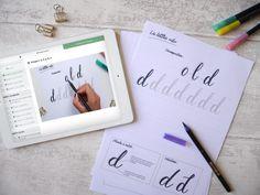 """Dans les coulisses de mon cours """"Apprendre le brush lettering en ligne"""" - Calligraphique - Le Studio Lettering, Flashcard, Learning, Fishing Line, Drawing Letters, Brush Lettering"""