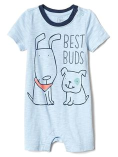 5445311637e Gap Baby Puppy Friends Shorty One-Piece Cerulean Blue Baby Boy One Pieces
